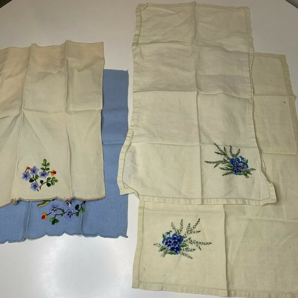 Vintage Kitchen Towel Tea Towel Linens Floral Embr